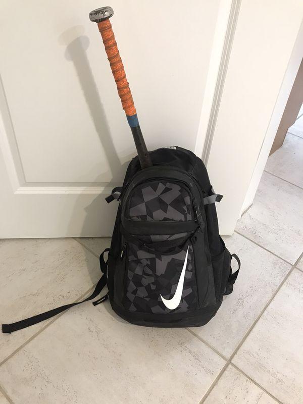 Baseball Bat, glove and Nike backpack