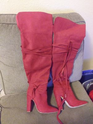 Red thigh high boots for Sale in Austin, TX