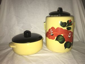 Large ceramic jars McCoy yellow black floral antique kitchenware vintage for Sale in Nashville, TN