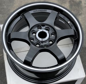 Brand new 15x6.5 +35 offset gloss black wheels 4x100/4x114.3 all 4 rims PRICE FIRM for Sale in Downey, CA