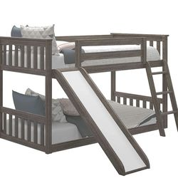 Twin Over Twin Low Bunk Bed With Slide for Sale in Itasca,  IL
