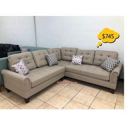 Beige Sectional Sofa Set With Ottoman Brand New In Box 📦 😍 Qualify To Buy Now & Pay In 90 Days 🙂 for Sale in Bell Gardens,  CA