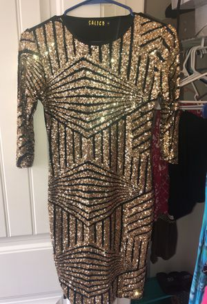 Black and Gold evening night out mini dress size small sequences for Sale in Pflugerville, TX