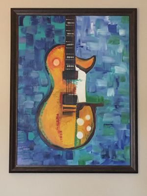 Large framed Acrylic Guitar Abstract on Canvas for Sale in Port St. Lucie, FL