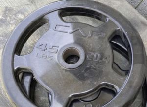 (2)45LBS CAP BUMPER RUBBER GRIP OLYMPIC WEIGHTS for Sale in San Diego, CA