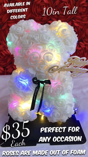 Beautiful Rose Bear With 💡. Perfect Gift 🎁 For Any Occasion. Roses Are Made Out Of Foam. for Sale in Lynwood, CA