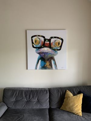 Happy Frog Wearing Glasses Cartoon Animal Handpainted Oil Painting On Canvas Modern Abstract Wall Art Bedroom Decoration for Sale in Centreville, VA