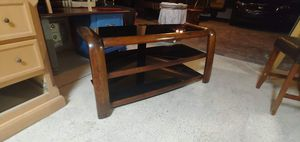 Solid wood and glass TV stand for Sale in Bartow, FL