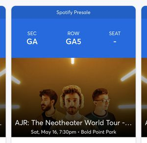4 AJR TICKETS- May 16th for Sale in Leominster, MA
