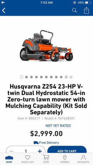New Husqvarna Z254 23-HP V-Twin Dual Hydrostatic 54 inch Zero Turn lawn mower for Sale in Euless, TX