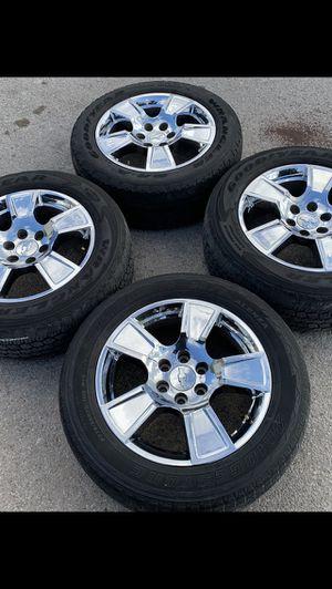 "Chrome Chevy factory 20"" Rims and Tires 6 Wheels Rines y llantas Chevrolet Silverado Tahoe Avalanche GMC Sierra Yukon suburban Denali Cadillac Escal for Sale in Dallas, TX"