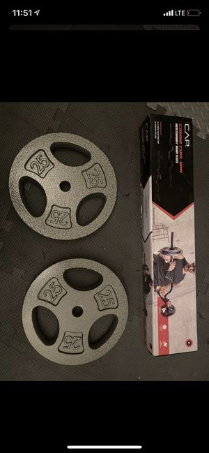 Set curl bar and 2 plates of 25 lb each, new for Sale in Lexington, KY