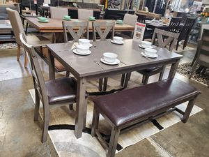6 PC Dining Set with Bench, Grey for Sale in Santa Fe Springs, CA