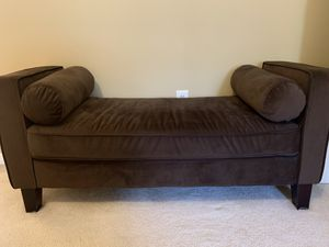 """Brown ultra suede bench 55"""" long 21"""" depth. Wood brown legs for Sale in Highland, MD"""