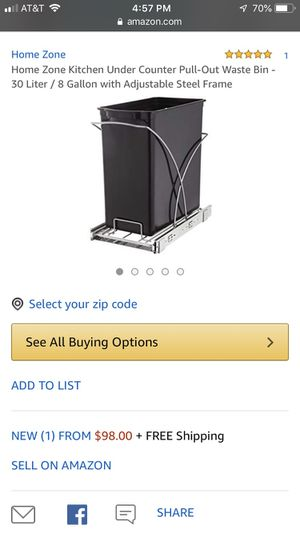 Home Zone 30L Pull Out Trash Can for Sale in Chicago, IL