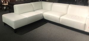 New white 2 piece leather sectional sofa - Macy's Furniture for Sale in Miami, FL