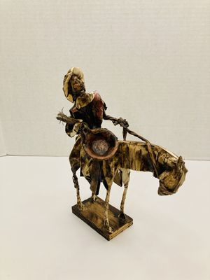 Vintage Rare Mexican Folk Art Handmade Paper Mache Man On Horse with Ceramic Pot Statue Figurine for Sale in Spring Hill, FL