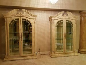 Two mirrored china cabinets for Sale in Las Vegas, NV
