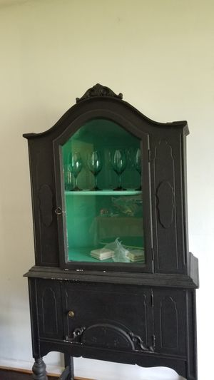 Antique styled black painted wood cabinet. for Sale in Bolingbrook, IL