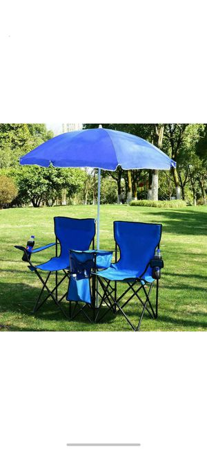 Folding Picnic Beach Camping Double Chair+Umbrella Table Cooler Fishing Travel for Sale in El Monte, CA