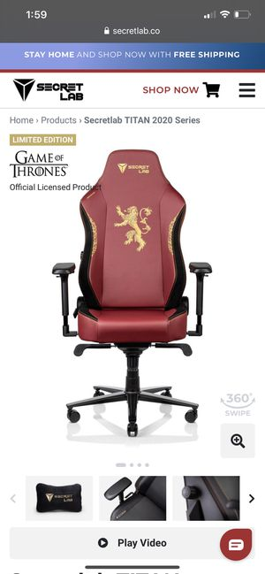 Secret Lab Executive Office Chair - Game of Thrones edition for Sale in Simi Valley, CA
