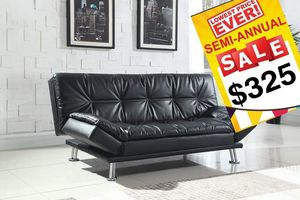 Black Leather Futon for Sale in Dallas, TX