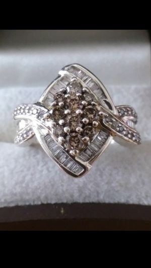 New Solid 925 Sterling Silver 2.05 carat Natural Champagne and White Diamond Engagement ring size 7 $500 OR BEST OFFER **FOR CHRISTMAS WE SHIP!!📦📫** for Sale in Phoenix, AZ