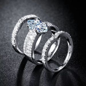 Sparkling 3 Pieces Marquise Cut Simulated Diamond 14K White Gold Bridal Ring Set Size 7 for Sale in Rockville, MD