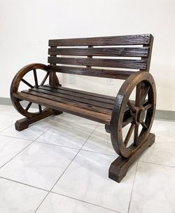 "New in box $100 Wooden 41"" Wagon Bench Rustic Wheel for Patio Garden Outdoor 41x20x30"" for Sale in El Monte,  CA"
