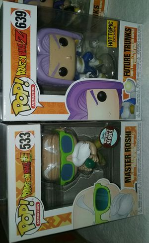 master roshi specialty series exclusive/future trunks hot topic exclusive/master roshi(peace sign)& master roshi dragonball z funko pop for Sale in Los Angeles, CA