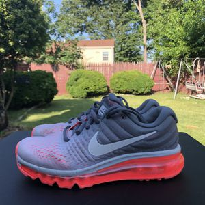 Nike airmax 2017 womens shoe pure platinum white cool grey lava size 6 for Sale in Forest Heights, MD