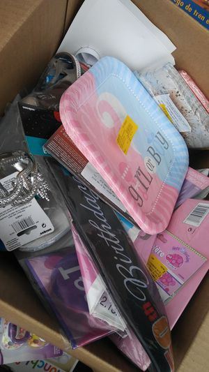 Assorted box of party supplies for Sale in Charlotte, NC