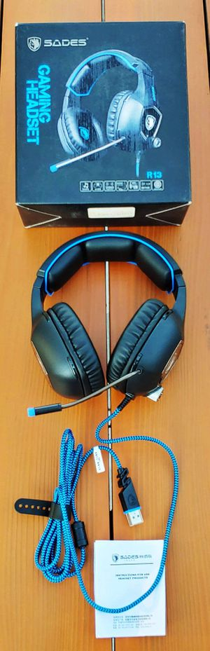 BRAND NEW SADES R13 USB PC Video Gaming Headset Headphones with Mic switch Auriculares para videojuegos Noise Cancel Vol Control LED Light for PC MAC for Sale in Rancho Cucamonga, CA
