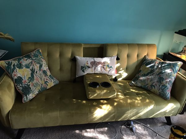 Golden yellow futon (with cup holder)