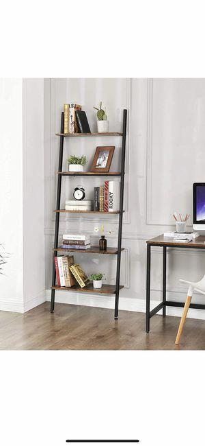 Alinru Ladder Shelf Leaning Shelf, 5-Tier Bookshelf Rack, for Living Room Kitchen Office, Stable Steel, Industrial Furniture, Rustic Brown for Sale in Eastvale, CA