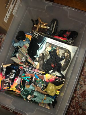 Box of old Star Wars figures and toys for Sale in Houston, TX