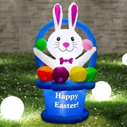 4 ft Easter Inflatables Bunny in Egg Basket, Easter Inflatable Outdoor Holiday Decoration, Easter Blow Up Lawn Yard Garden Inflatables Decorations for Sale in Tulsa,  OK