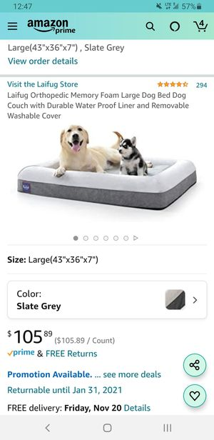 Laifug orthopedic memory foam dog bed (large) for Sale in Los Angeles, CA