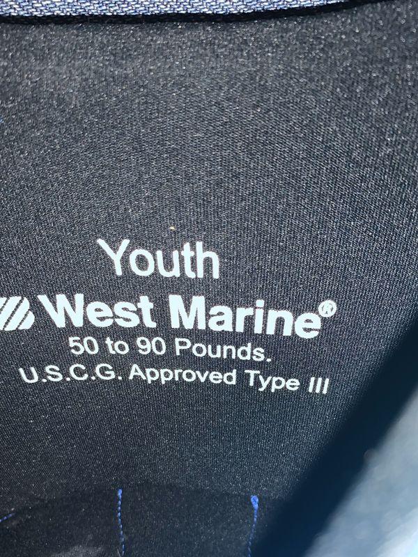 West Marine youth life jacket never used