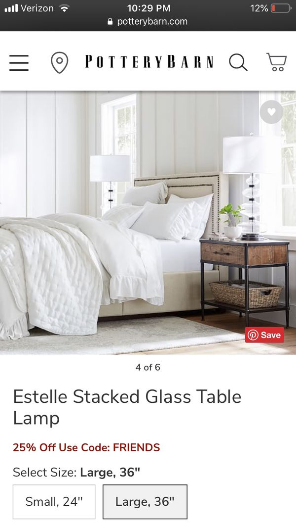 Pottery Barn Estelle Stacked Glass Table Lamp For Sale In