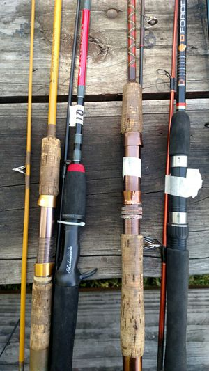 5 spinning rods fishing choice $10 each for Sale in Oak Lawn, IL