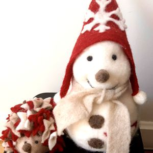 Italian Felted Wool Animal Toys Snowman Hedgehog New for Sale in New York, NY