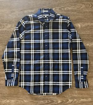 Banana Republic Brand Men's Navy Blue & Black Plaid Long Sleeved Buttoned Down Shirt for Sale in San Gabriel, CA
