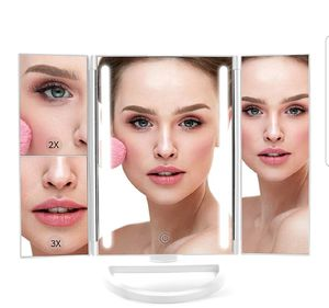 Lighted Makeup Mirror, LED Vanity Glam Make Up Mirror with Lights, Tri-Fold LED Makeup Beauty Mirror for Bathroom or Bedroom, Magnifying Beauty for Sale in Garland, TX
