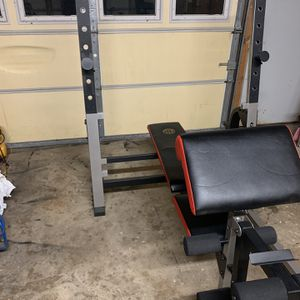 Golds Gym Olympic Weight Bench With Lat Pull down for Sale in Rockdale, IL