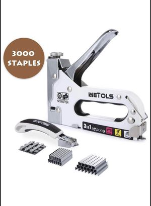 Staple Gun with Remover, Heavy Duty Staple Gun, 3 in 1 Manual Nail Gun with 3000 Staples(D, U and T- for Sale in Lilburn, GA