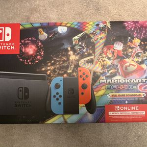 Brand New Nintendo Switch w/ Neon Blue & Neon Red Joy-Con + Mario Kart 8 Deluxe (Full Game Download) + 3 Month Online Individual Membership for Sale in Temple City, CA
