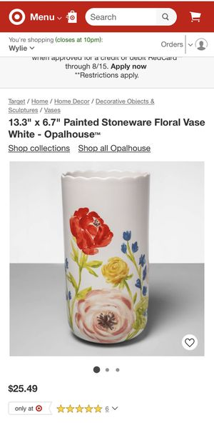 """13.3"""" x 6.7"""" Painted Stoneware Floral Vase White - Opalhouse for Sale in Sachse, TX"""