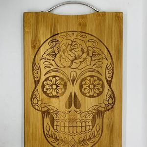 Sugar skull laser engraved bamboo high quality cuttingboard valentines gift for Sale in Los Angeles, CA