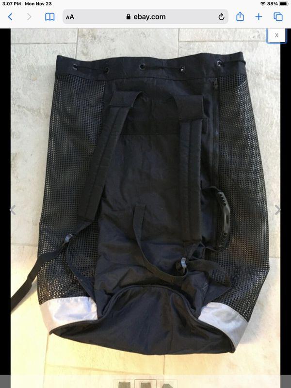 AKONA Mesh Backpack Scuba Dive Gear Bag FREE Diving Fins snorkeling Front Pocket